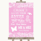 Pink Burlap & Lace Guestbook Advice & Wishes Mr & Mrs Customised Wedding Sign