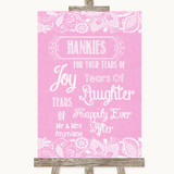 Pink Burlap & Lace Hankies And Tissues Customised Wedding Sign