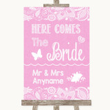 Pink Burlap & Lace Here Comes Bride Aisle Sign Customised Wedding Sign