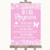 Pink Burlap & Lace Important Special Dates Customised Wedding Sign