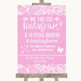 Pink Burlap & Lace Instagram Photo Sharing Customised Wedding Sign