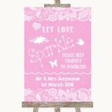 Pink Burlap & Lace Let Love Sparkle Sparkler Send Off Customised Wedding Sign
