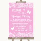 Pink Burlap & Lace No Phone Camera Unplugged Customised Wedding Sign