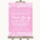 Pink Burlap & Lace Photo Guestbook Friends & Family Customised Wedding Sign