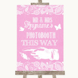 Pink Burlap & Lace Photobooth This Way Left Customised Wedding Sign