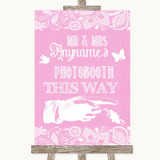 Pink Burlap & Lace Photobooth This Way Right Customised Wedding Sign