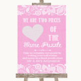 Pink Burlap & Lace Puzzle Piece Guest Book Customised Wedding Sign