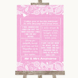 Pink Burlap & Lace Romantic Vows Customised Wedding Sign