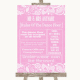 Pink Burlap & Lace Rules Of The Dance Floor Customised Wedding Sign