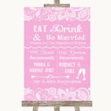 Pink Burlap & Lace Signature Favourite Drinks Customised Wedding Sign