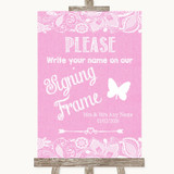 Pink Burlap & Lace Signing Frame Guestbook Customised Wedding Sign
