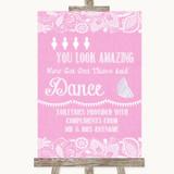 Pink Burlap & Lace Toiletries Comfort Basket Customised Wedding Sign