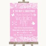 Pink Burlap & Lace Wedpics App Photos Customised Wedding Sign