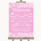 Pink Burlap & Lace Welcome Order Of The Day Customised Wedding Sign