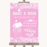 Pink Burlap & Lace Wishing Well Message Customised Wedding Sign