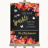 Pink Coral Orange & Purple Let Love Sparkle Sparkler Send Off Wedding Sign