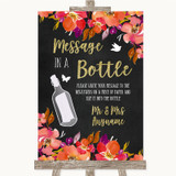 Pink Coral Orange & Purple Message In A Bottle Customised Wedding Sign