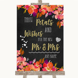 Pink Coral Orange & Purple Petals Wishes Confetti Customised Wedding Sign