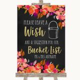 Pink Coral Orange & Purple Bucket List Customised Wedding Sign