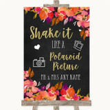 Pink Coral Orange & Purple Polaroid Picture Customised Wedding Sign