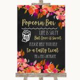 Pink Coral Orange & Purple Popcorn Bar Customised Wedding Sign