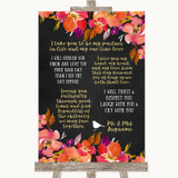 Pink Coral Orange & Purple Romantic Vows Customised Wedding Sign
