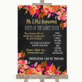 Pink Coral Orange & Purple Rules Of The Dance Floor Customised Wedding Sign