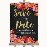 Pink Coral Orange & Purple Save The Date Customised Wedding Sign