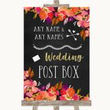 Pink Coral Orange & Purple Card Post Box Customised Wedding Sign