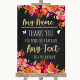 Pink Coral Orange & Purple Thank You Bridesmaid Page Boy Best Man Wedding Sign