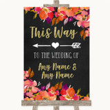 Pink Coral Orange & Purple This Way Arrow Left Customised Wedding Sign
