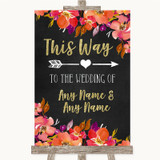Pink Coral Orange & Purple This Way Arrow Right Customised Wedding Sign