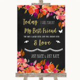 Pink Coral Orange & Purple Today I Marry My Best Friend Wedding Sign