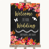 Pink Coral Orange & Purple Welcome To Our Wedding Customised Wedding Sign