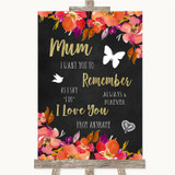 Pink Coral Orange & Purple I Love You Message For Mum Customised Wedding Sign