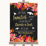 Pink Coral Orange & Purple As Families Become One Seating Plan Wedding Sign