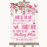 Pink Rustic Wood All Family No Seating Plan Customised Wedding Sign