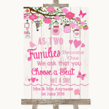 Pink Rustic Wood As Families Become One Seating Plan Customised Wedding Sign