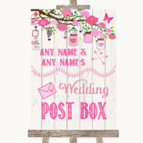 Pink Rustic Wood Card Post Box Customised Wedding Sign