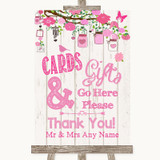 Pink Rustic Wood Cards & Gifts Table Customised Wedding Sign