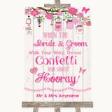 Pink Rustic Wood Confetti Customised Wedding Sign