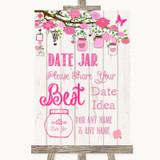 Pink Rustic Wood Date Jar Guestbook Customised Wedding Sign