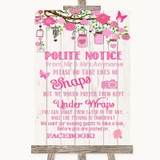 Pink Rustic Wood Don't Post Photos Facebook Customised Wedding Sign
