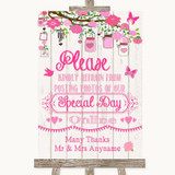 Pink Rustic Wood Don't Post Photos Online Social Media Customised Wedding Sign