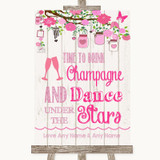 Pink Rustic Wood Drink Champagne Dance Stars Customised Wedding Sign