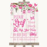 Pink Rustic Wood Fingerprint Tree Instructions Customised Wedding Sign