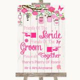 Pink Rustic Wood Friends Of The Bride Groom Seating Customised Wedding Sign