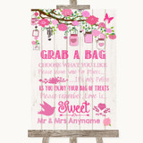 Pink Rustic Wood Grab A Bag Candy Buffet Cart Sweets Customised Wedding Sign