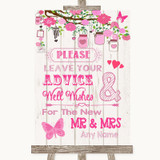 Pink Rustic Wood Guestbook Advice & Wishes Mr & Mrs Customised Wedding Sign