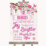 Pink Rustic Wood Hankies And Tissues Customised Wedding Sign